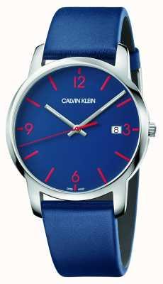 Calvin Klein | miasto mężczyzn | niebieski skórzany pasek | niebieska tarcza | K2G2G1VX