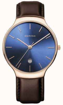 Bering | klasyczny damski | brązowy skórzany pasek | niebieska tarcza | 13338-567