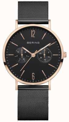 Bering Damska klasyka | czarna bransoletka z siatki | czarna tarcza | 14236-163