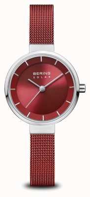 Bering Solar | polerowane srebro | czerwona bransoletka z siatki | czerwona tarcza | 14627-303