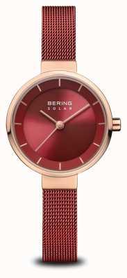 Bering | kobiety słoneczne | polerowane różowe złoto | czerwona siatka | czerwona tarcza | 14627-363
