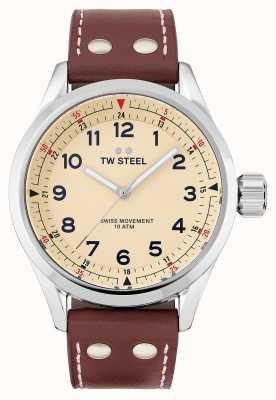 TW Steel | męskie | szwajcarski volante | kremowa tarcza | brązowy skórzany pasek | SVS101