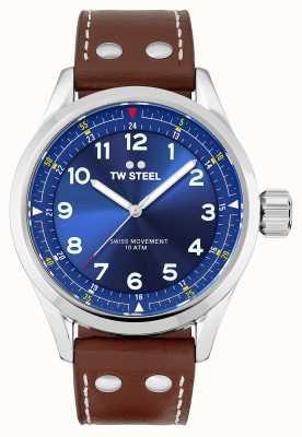 TW Steel | męskie | szwajcarski volante | niebieska tarcza | brązowy skórzany pasek | SVS102