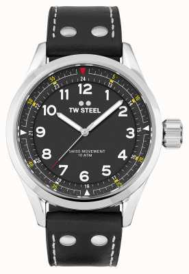 TW Steel | męskie | szwajcarski volante | czarna tarcza | czarny skórzany pasek | SVS103