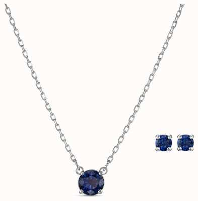 Swarovski | przyciągnij okrągły zestaw | niebieski naszyjnik i kolczyki | 5536554