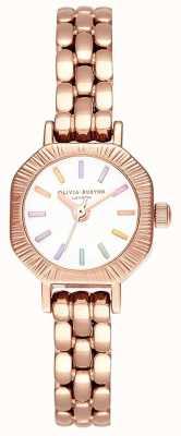 Olivia Burton | tęczowa jasnoróżowa bransoletka | biała tarcza | OB16CC50