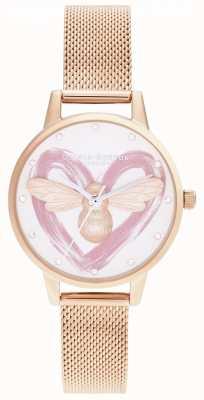 Olivia Burton Szczęśliwa pszczoła, srebrno-różowe złoto OB16FB01