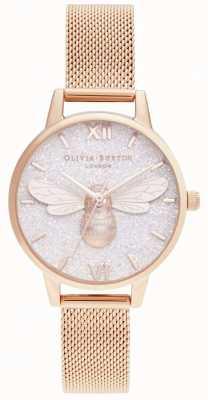 Olivia Burton | brokatowa tarcza lucky bee i różowe złoto | OB16FB04
