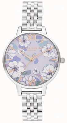 Olivia Burton Groovy blooms różowo-srebrna bransoletka OB16AN05