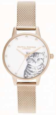 Olivia Burton Perłowo ilustrowana kociak w kolorze różowego złota OB16WL88