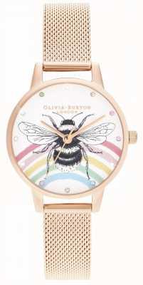 Olivia Burton Ilustrowana tęczowa pszczoła, różowe złoto OB16WL90