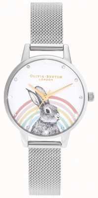 Olivia Burton Tęczowy królik, złota i srebrna siatka OB16WL89