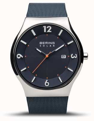 Bering | męskie | slim solar | granatowy | bransoletka z siatki | 14440-307