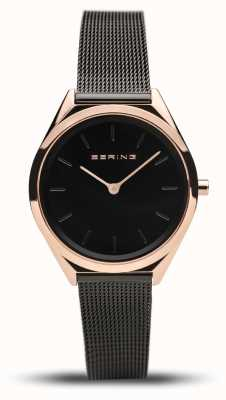 Bering | unisex | bardzo cienki | czarna bransoletka z siatki | 17031-166