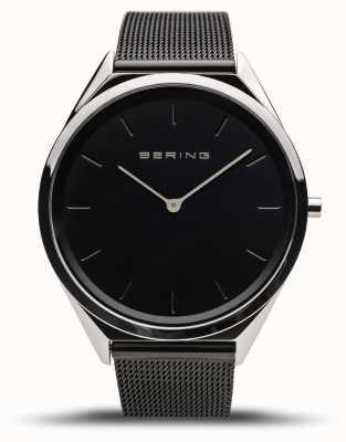 Bering | unisex | bardzo cienki | czarna bransoletka z siatki | 17039-102