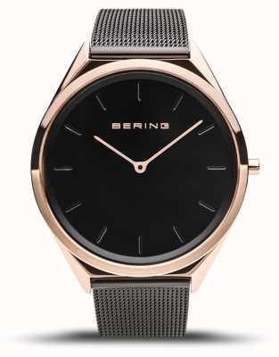 Bering | unisex | bardzo cienki | czarna bransoletka z siatki | 17039-166