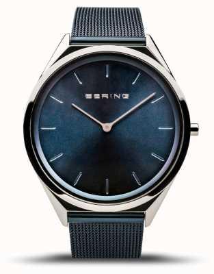 Bering | unisex | bardzo cienki | niebieska bransoletka z siatki | 17039-307