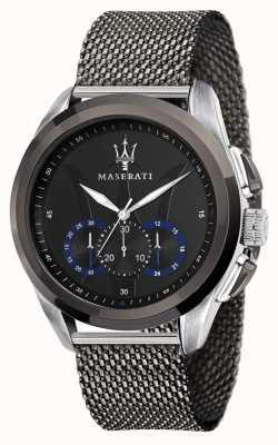 Maserati Traguardo | szara stalowa bransoletka z siatki | czarna tarcza R8873612006