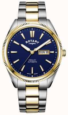 Rotary Henley dla mężczyzn | dwukolorowa bransoleta ze stali nierdzewnej | niebieska tarcza GB05381/05