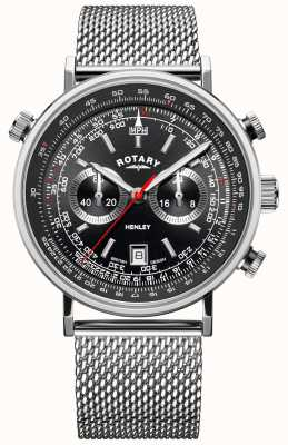 Rotary Henley dla mężczyzn | bransoletka ze stali | czarna tarcza | GB05235/04