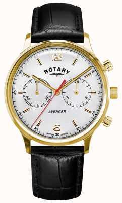 Rotary Mściciel mężczyzn | czarny skórzany pasek | złota obudowa | biała tarcza GS05206/70