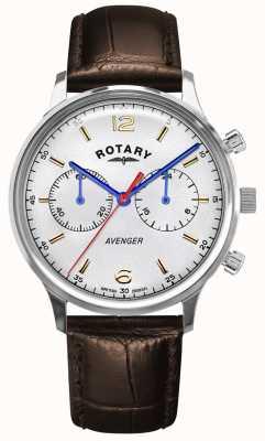 Rotary Mściciel mężczyzn | brązowy skórzany pasek | srebrna tarcza GS05203/70