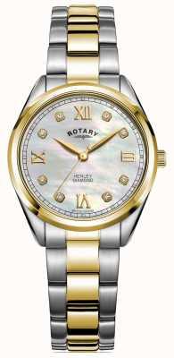 Rotary Henley kobiet | tarcza diamentowa | dwukolorowa bransoletka | LB05111/41/D