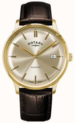 Rotary Mściciel mężczyzn | brązowy skórzany pasek | tarcza szampana GS05403/03