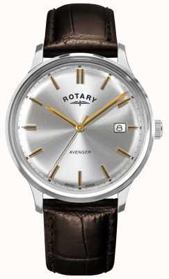 Rotary Mściciel mężczyzn | brązowy skórzany pasek | srebrna tarcza | GS05400/06