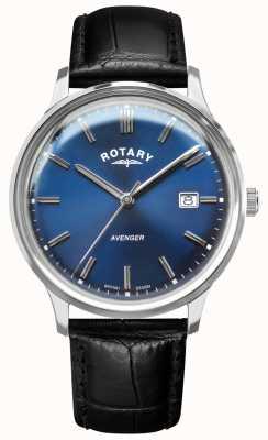Rotary Mściciel mężczyzn | czarny skórzany pasek | niebieska tarcza | GS05400/05