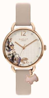 Radley | damski różowy skórzany pasek | tarcza w kwiatowy wzór | RY2982