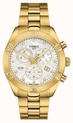 Tissot 100 pr dla kobiet | sportowy elegancki chronograf | Matka perły T1019173311601