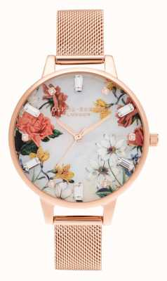 Olivia Burton Demi | tarcza z masy perłowej | siatka w kolorze różowego złota OB16BF28