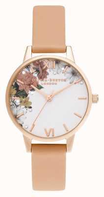 Olivia Burton | blask kwiatowy | midi | różowe złoto | koralowy pasek | OB16BF30