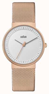 Braun Kobiety | klasyczny | siatka pvd w kolorze różowego złota | biała tarcza BN0031RGMHL