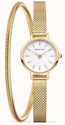 Bering Zestaw upominkowy na dzień matki | złoty zegarek i bransoletka z siatki 11022-334