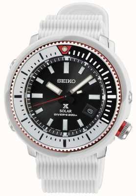 Seiko Prospex męski zegarek słoneczny   biały silikonowy pasek SNE545P1