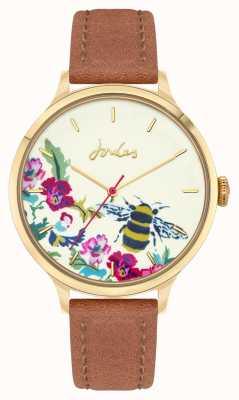 Joules Kobiety | brązowy skórzany pasek | kwiatowa tarcza pszczoły JSL030TG