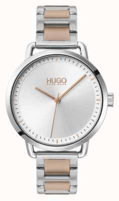 HUGO #mellow | dwukolorowa stalowa bransoletka | srebrna tarcza | 1540057