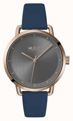 HUGO #mellow | niebieski skórzany pasek | szara tarcza | 1540054