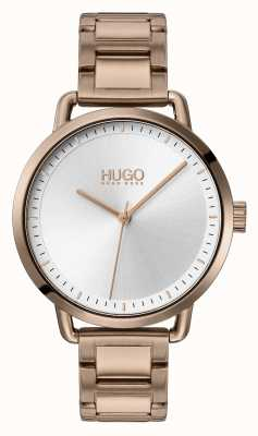 HUGO #mellow | beżowa pozłacana stalowa bransoletka | srebrna tarcza | 1540056