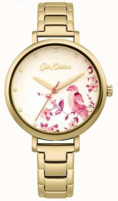 Cath Kidston Złota bransoletka ze stali nierdzewnej | tarcza z kwiatowym ptakiem CKL099GM