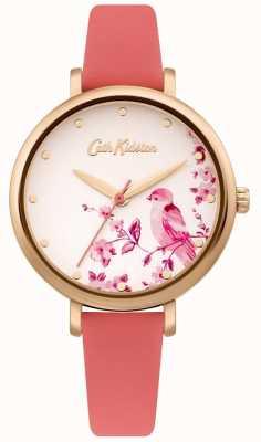 Cath Kidston Różowy skórzany pasek damski | srebrna tarcza z kwiatowym ptakiem CKL099PRG