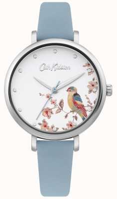 Cath Kidston Jasnoniebieski skórzany pasek | srebrna tarcza z kwiatowym ptakiem CKL099US