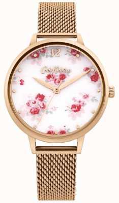 Cath Kidston | damski pasek z różowego złota | biała tarcza w kwiaty CKL095RGM