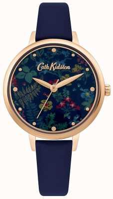 Cath Kidston Damska tarcza w kwiatowy wzór | granatowy skórzany pasek CKL096URG