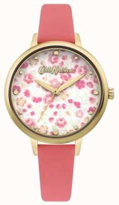 Cath Kidston Tarcza damska w kwiatowy wzór | koralowy pasek ze skóry CKL096PG