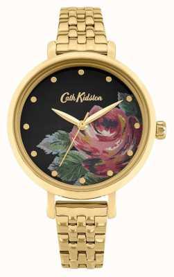 Cath Kidston | kobiety Oxford | pozłacana stalowa bransoletka | tarcza w kwiaty CKL087GM