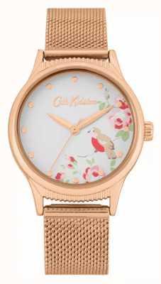 Cath Kidston Pasek z różowego złota | biała tarcza w kwiatowy wzór | CKL091RGM