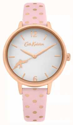 Cath Kidston Skórzany pasek w różowe kropki | biała tarcza | CKL088P
